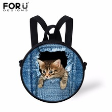 FORUDESIGNS Cute Small 3D Animal Backpack for Kindergarten Baby Girls Denim Cat Nursery School Bags Mini Kids Preschool Bag