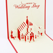 Individuation 3D Chapel Model Greeting Cards For Newly-married Coupe. Free Shipping
