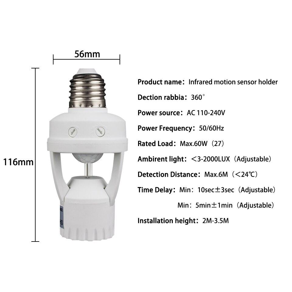 Bases da Lâmpada sensor de raio infravermelho de Altura : 116mm