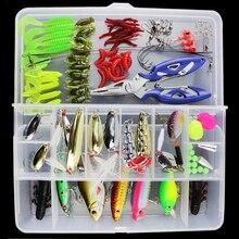 101pcs Lure Kit Set Spinner Crankbait Minnow Popper VIB Paillette Soft Hard Spoon Crank Baits Fishing Hooks Plier Stosh Pesca