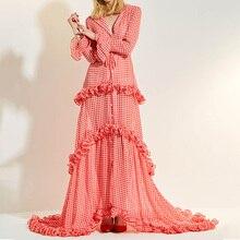 Women Maxi Dresses Elegant Summer Long Sleeve Evening Party Ruffles Plaid Asymmetric Patchwork Female Prom Robe Trumpet Dress недорого
