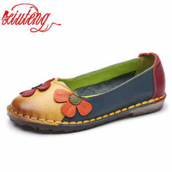Xiuteng Summer Fashion Flower Soft Bottom Design Round Toe Mix Color Flat Shoes Vintage Genuine Leather Women Flats Girl Loafer - Category 🛒 Shoes