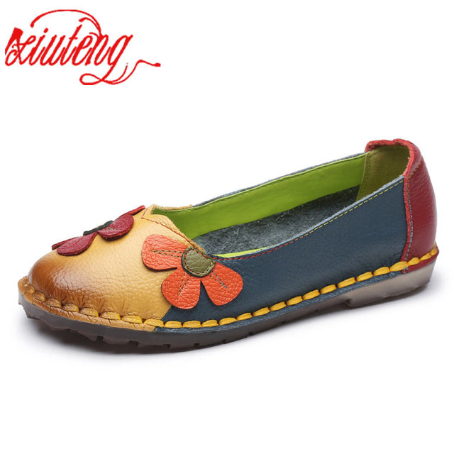 Xiuteng Yaz Moda Çiçek Yumuşak Alt Tasarım Yuvarlak Ayak Mix Renk düz ayakkabı Vintage Hakiki Deri Kadın Flats Kız Mokasen