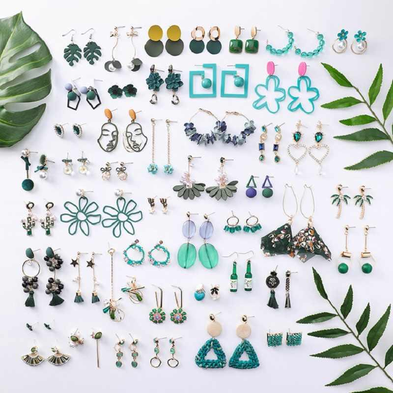 2019 Koreaanse groene fee bloem tassel lange dangle oorbellen vintage parel geometrische ronde gezicht oorbellen voor vrouwen sieraden trinket