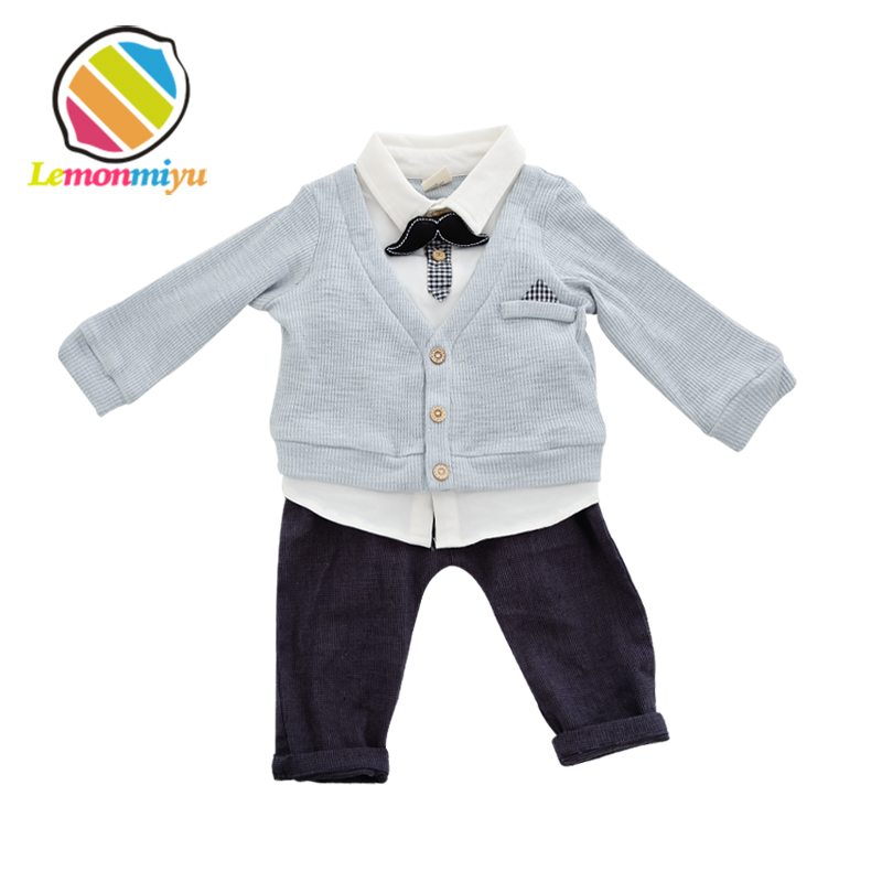 Lemonmiyu 3pcs Formal Baby Sets Infants Cotton Boy Clothing Sets Newborn Solid Bow White Shirt Jackets Long Pants Outfits Sets