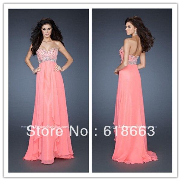 Le0212 nueva moda de novia barato Crystal vestidos largos de noche ...