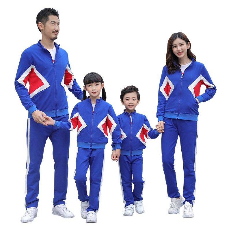 Nouveau Design Hit-colour famille correspondant tenue Couples veste et pantalon sport ensemble adolescent garçons filles retour à l'école uniforme costumes