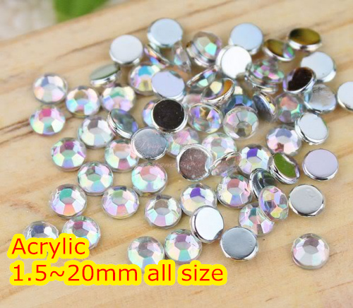 Cryatal AB Color 1.5 ~ 20mm Flat Back Rund Akryl Perler / Stones, Akrylharpiks 3D Nail Art / Garment Decoration