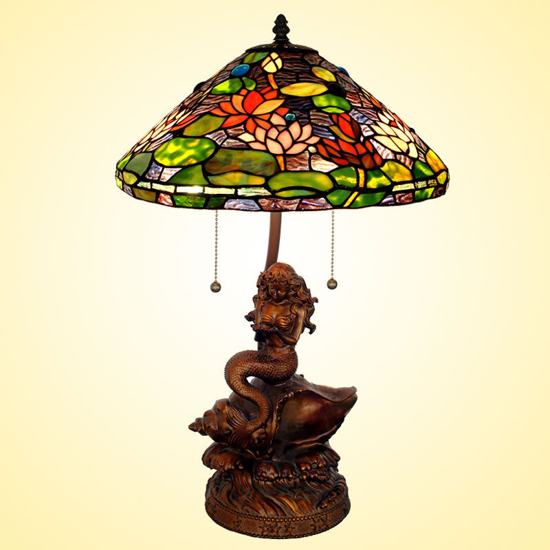Lighting 17 Inch Tiffany Lamp Color Gl Lampshade Mermaid Cafe Living Room Decorative Base In Table Lamps From Lights On Aliexpress