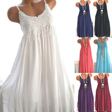 5XL Sexy Halter Sling Women's Elegant Dress Ladies Solid Color Lace Sexy Long Dress Summer Sale Large Size Sling Irregular Dress(China)