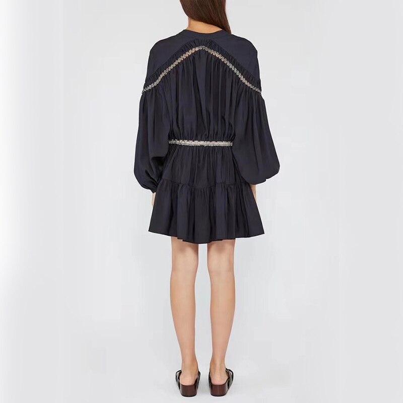 今週の割引 Aditif.co.in 2019 カジュアル中空アウトパッチワークドレス女性ハイウエストの 4