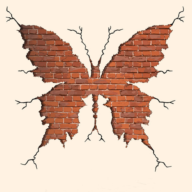 Erflies Large Wall Sticker Brick Pattern Home Decor Living Room Erfly Decal Mural Adesivo De Parde Decals