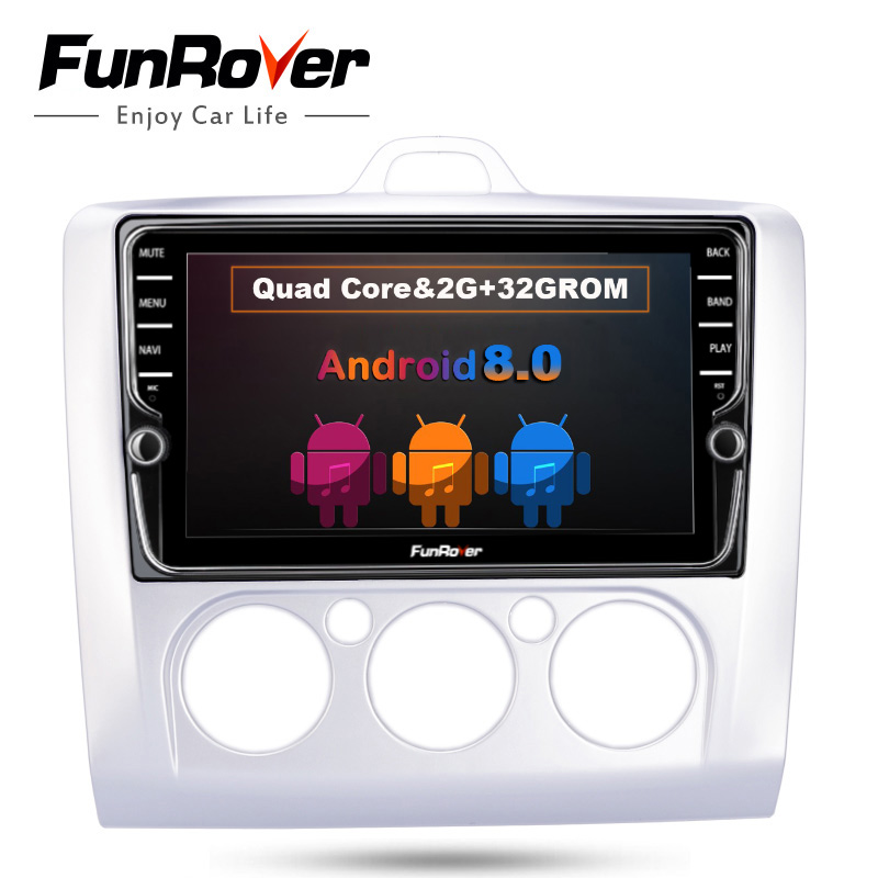 """Funrover 8"""" IPS Android 8.0 Car Radio Gps For Ford Focus 2 stereo Wifi multimedia BT tape recorder steering wheel control nodvd"""