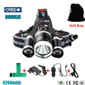 9000LM 3*XM-T6 LED Headlight Head Lamp Flashlight Torch Lanterna Headlamp Linterna Frontal Hoofdlamp Searchlight Bicycle Light