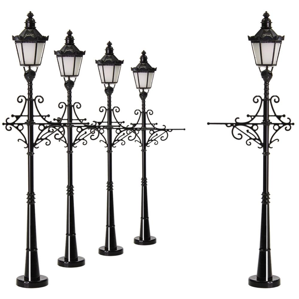 5pcs//10pcs Model Railway 1:87 Lamp Two-head Street Light HO Scale LED LYM30 6cm