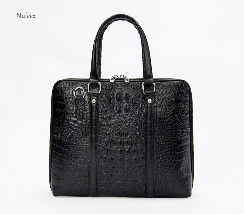 Nuleez men's bag busineeze handbag  cowhide alligator-made briefcase luxury Europe and America style cross-body  2018  promotion