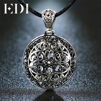 Vintage Round Hollow Carved Real Pure 925 Sterling Silver Pendants Necklace Hanging Large Plate Medal Style
