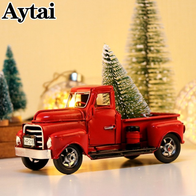 aytai cute little metal christmas red truck vintage red truck christmas tree decor handcrafted kid gift