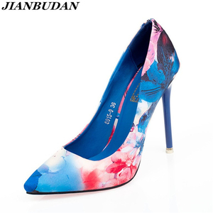 Image 1 - JIANBUDAN גבוהה העקב נשים של עסקים משרד נעליים באיכות גבוהה עור מפוצל סקסי נקבה משאבות רדוד מחודדת הבוהן נעלי נשים