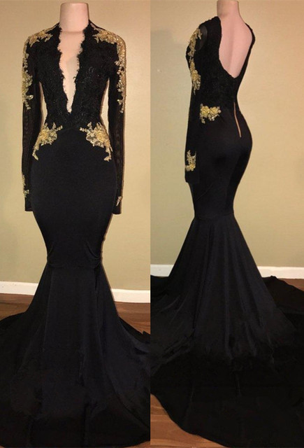 1c1af9b8bc35 2018 Modest Sexy Open Back Black Prom Dresses Mermaid Deep V Neck Long  Sleeves Gold Appliques Sweep Train Evening Gowns