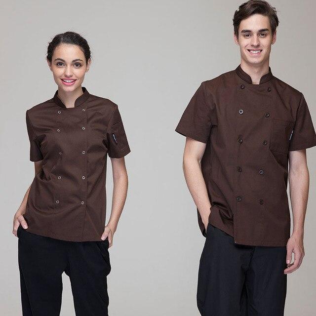 ffbf449cecd8 Moda-Uomo-Donna-Chef-Giacche-Uniformi-Maniche-Corte-di -Alta-Qualit-del-Caff-e-Blu-Navy.jpg 640x640.jpg