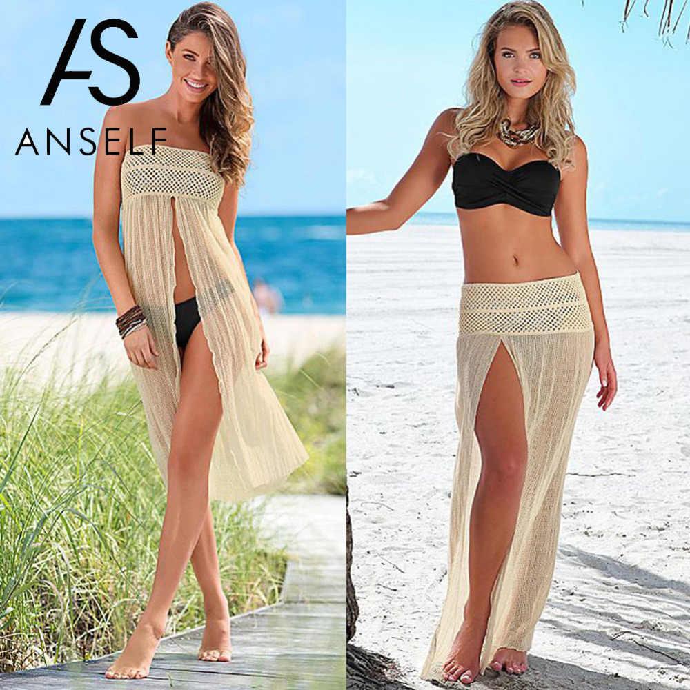 8160b364bc Anself Women Off Shoulder Beach Dress Mesh Hollow Floatsuit Crochet Lace  Summer Dress 2019 Women Tunic