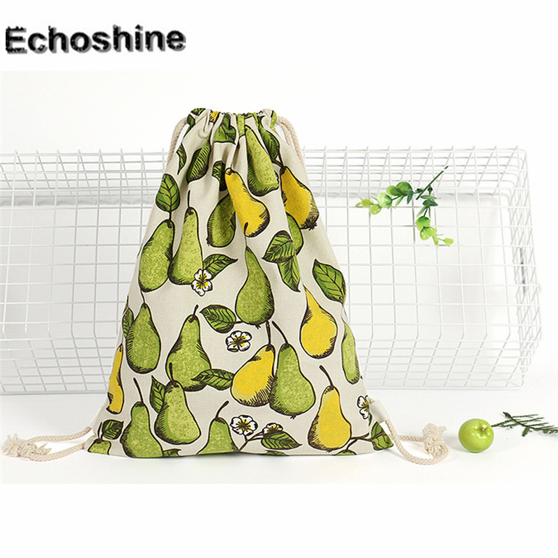 2016 New hot sale Unisex Pear Prints Drawstring Backpack Shopping Tote Bag Travel Bag gift wholesale B05 kai yunon women sparrow drawstring beam port backpack shopping bag travel bag aug 24