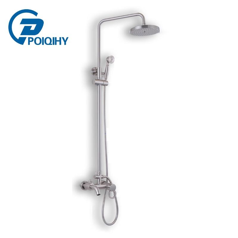 POIQIHY Single Handle Shower Set Swivel Tub Spout Mixer 8