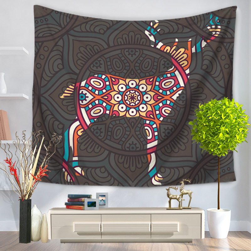 Animal Pattern Tapestry Picnic Mat Yoga Rug Polyester Wall Hanging Gobelin Bedding Home Decor Crafts