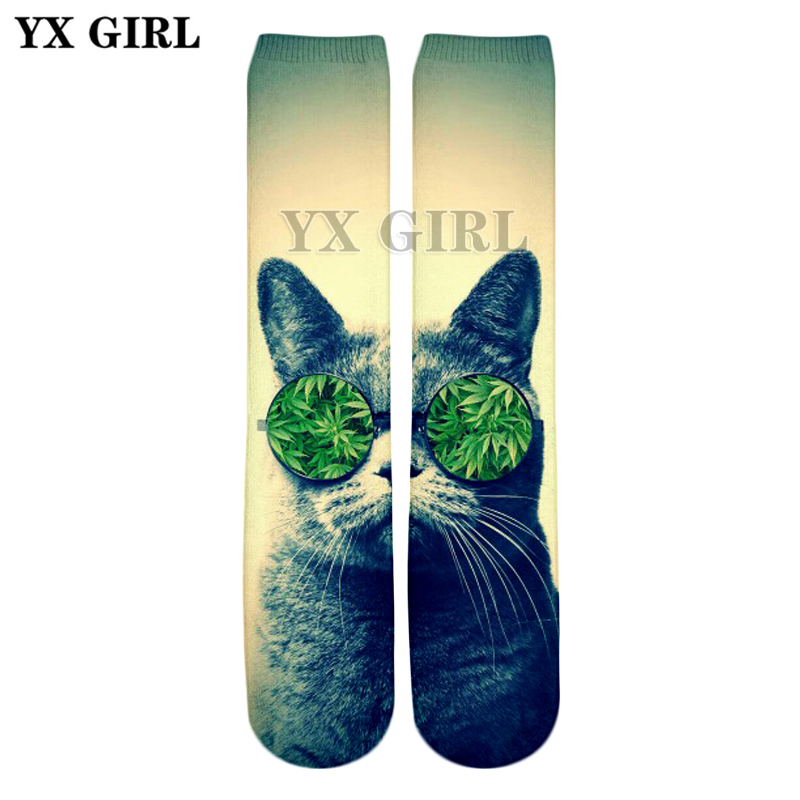 YX GIRL Drop shipping 2018 Summer New Style 3d socks animals Funny Glasses cat 3D Print Men/Women casual Socks