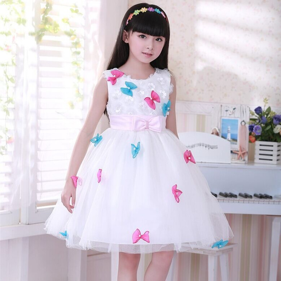 New Summer kids Girl Ball Gown Dress Girl Colorful Bow Princess Flower Girl Dress Baby Sleeveless Knee-length White Dress 4pcs new for ball uff bes m18mg noc80b s04g