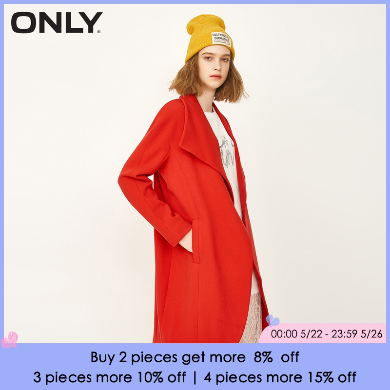 ONLY Brand 2018 New one button turn-down collar korean version loose and long style female   trench   coat| 116336535