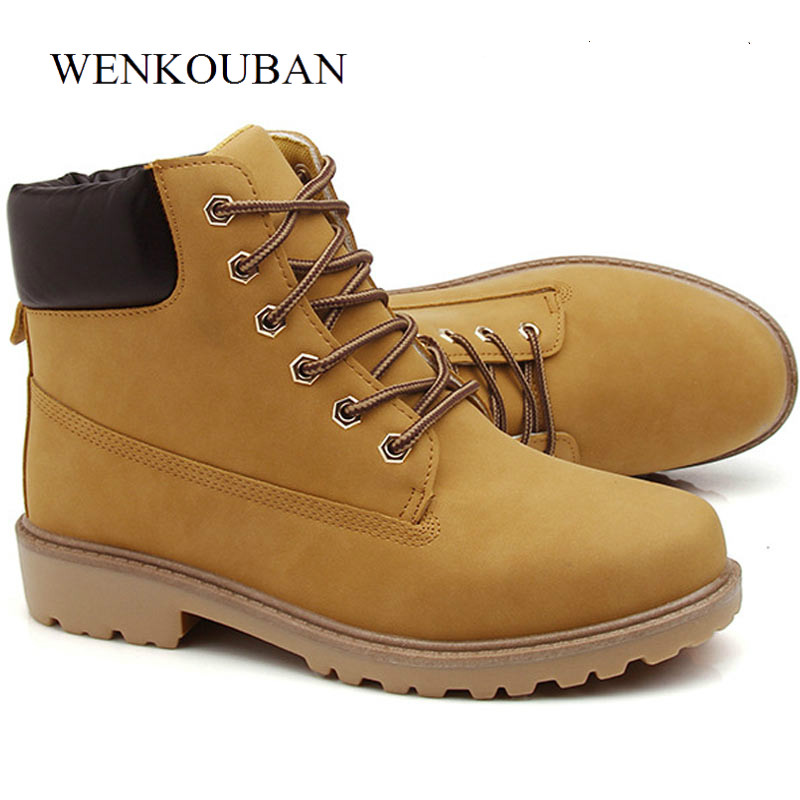 Men Winter Boots Leather Snow Ankle Boots Fashion Male British Martin Shoes Lace Up Anti-slip Booties Plus Size Bota Masculina