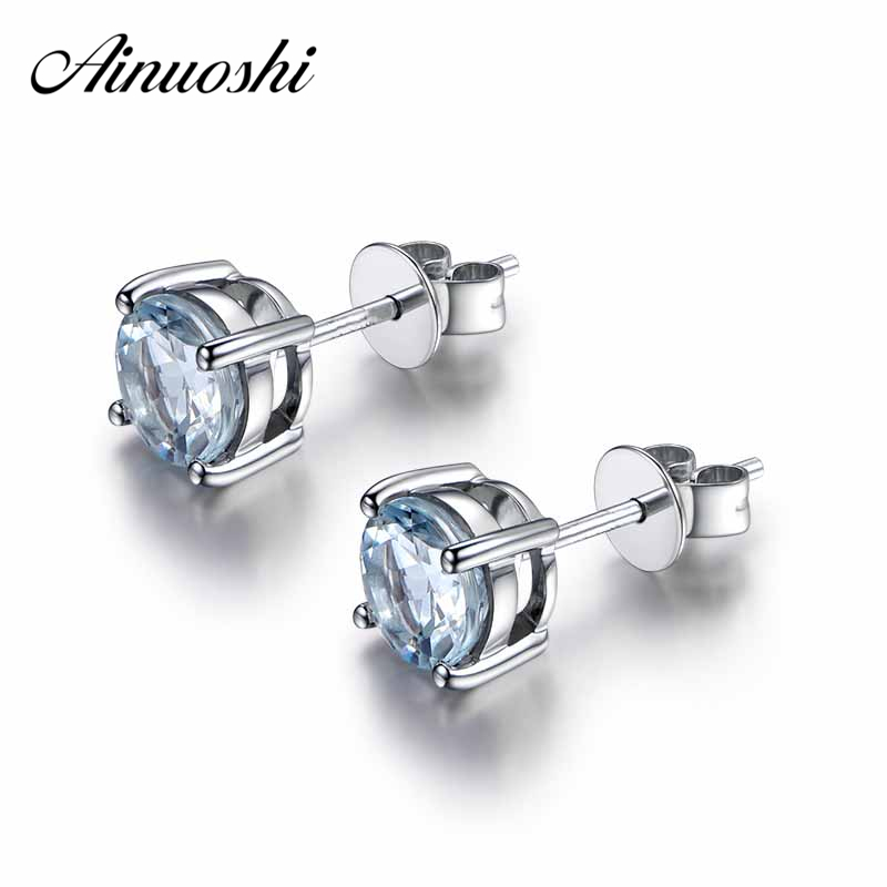 AINUOSHI Luxury Round Cut Natural Sky Blue Topaz Birthstone Stud Earring Genuine 925 Sterling Silver 2018