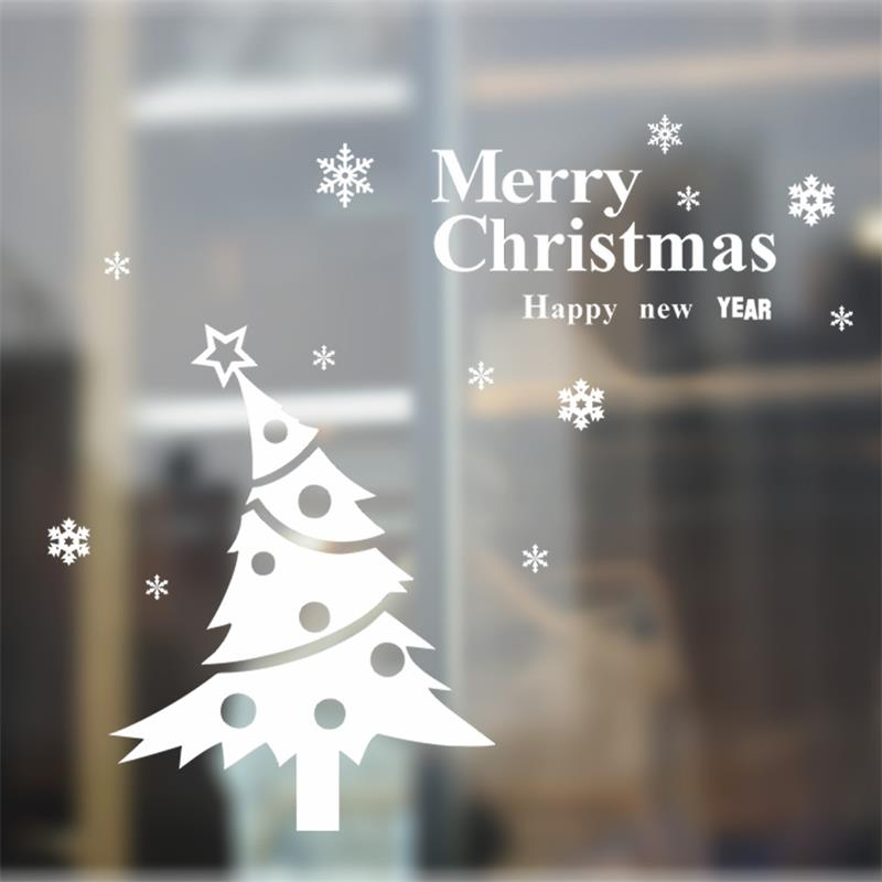 2016 merry christmas happy new year tree window stickers xmas41 snowflake glass decorative wall stickers decals in wall stickers from home garden on