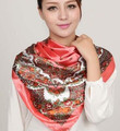Women's big print silk scarf large satin cape ultralarge summer beach sunscreen Polyester scarf pashmina shawl 90*90 cm