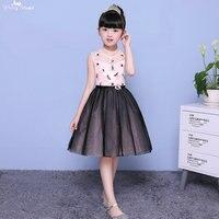 LZC005 High Neck Bead Pink Dress Black Dress Girls Ball Gown