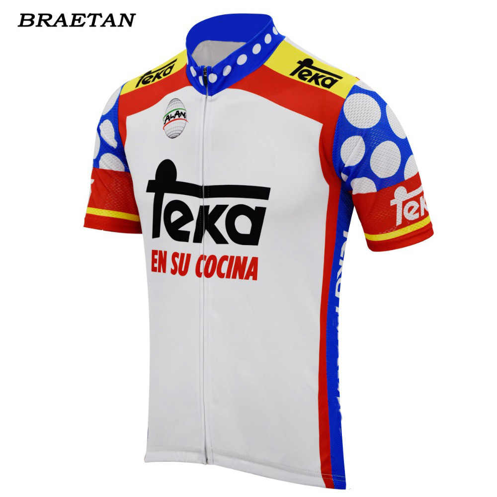 cea004b3e7e 2018 Men cycling jersey red blue white road bicycle clothing classic bike  wear retro clothes short