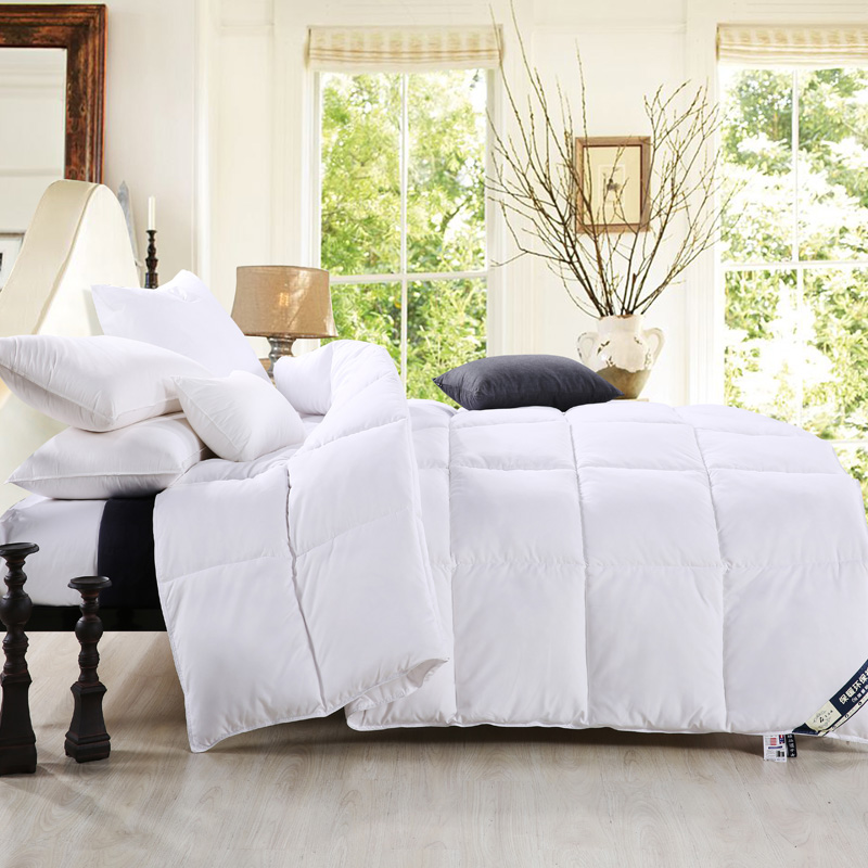 White Warm Winter Goose Comforter Quilt Warmly King Size Bedding Set