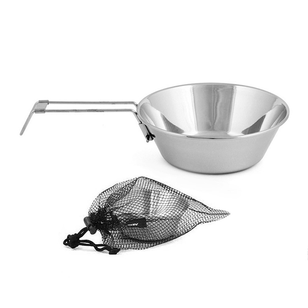 Portable Outdoor Folding Bowls Stainless Steel Plate Camping Cookware Food Tray Picnic Cooking Tools Non-Stick Noodle image