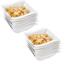 MALACASA 12 Ounce Set of 12 White Porcelain Square Soup Cereal Oatmeal Bowls Dinner Breakfast Household Dinnerware Bowl Sets