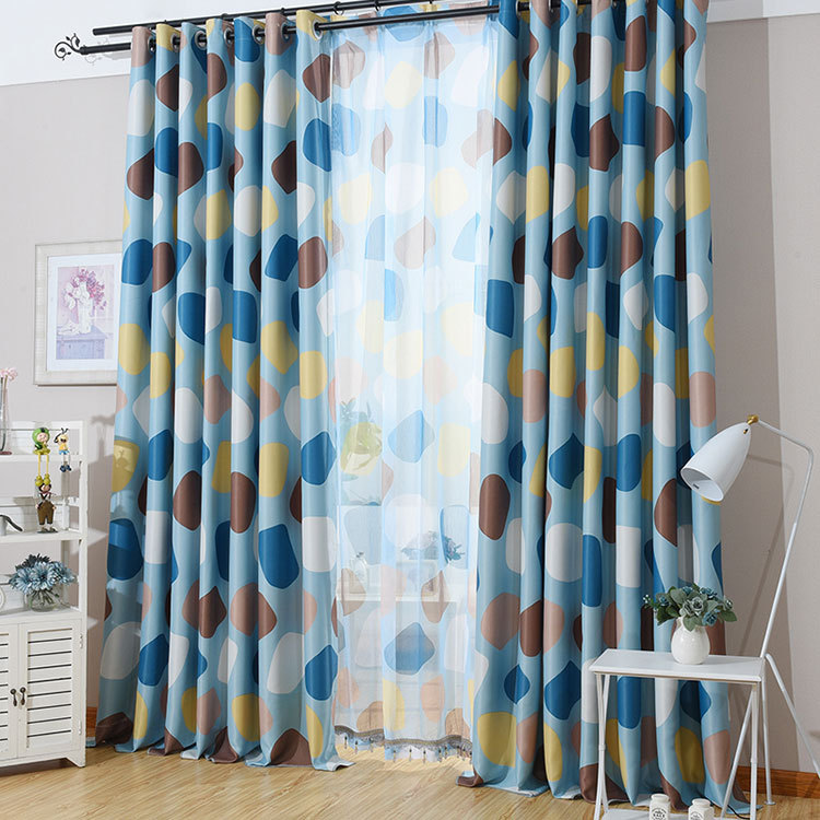 Korean Pastoral Style Fresh Blue/Red Cobblestone Printed Curtain Blockout Cloth Curtain for Living Room Bedroom