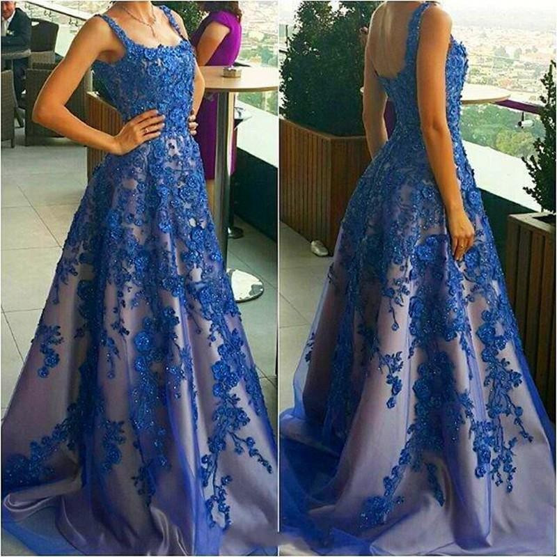 Royal Blue Beaded   Prom     Dresses   with Appliques Formal Evening Party Gowns 2018 Long   Dress   Handwork Vestidos de Fiesta