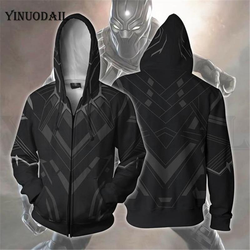 Avengers 4 Endgame Men and Women Zipper Hoodies Black Panther 3D Hooded Jacket Superhero Sweatshirt Streetwear Cosplay Costume