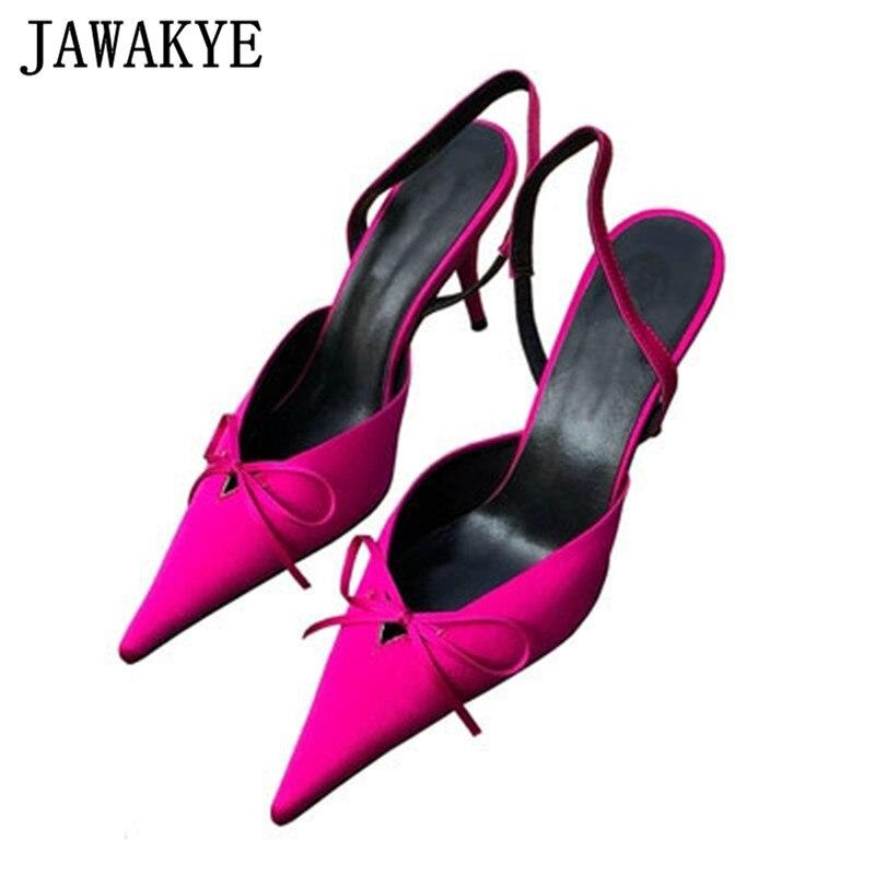 Été papillon-noeud sandales femmes bout pointu talons hauts femme soie cuir slingback pompes mariage robe chaussures pour dames