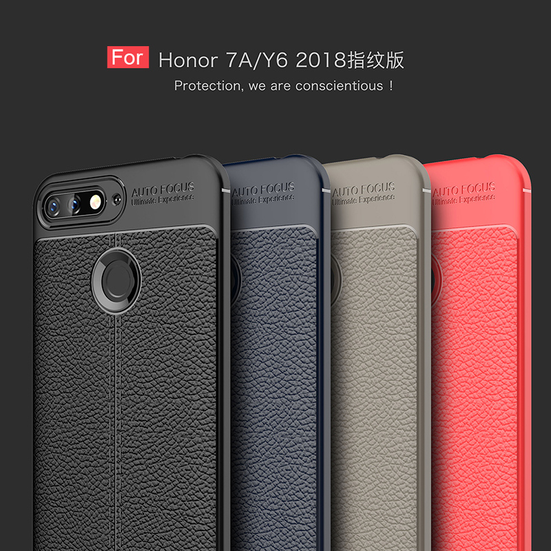 For Huawei Honor 7A Pro Case Luxury Soft Shockproof Leather Grained TPU Back Cover Case For Huawei Honor 7A prime