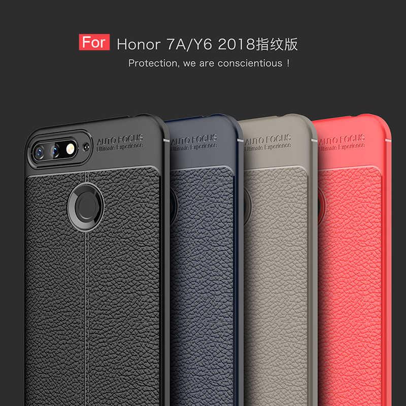 Для huawei Honor 7A Pro Чехол роскошный мягкий противоударный кожаный зернистый Задняя накладка чехла из ТПУ для huawei Honor 7A prime