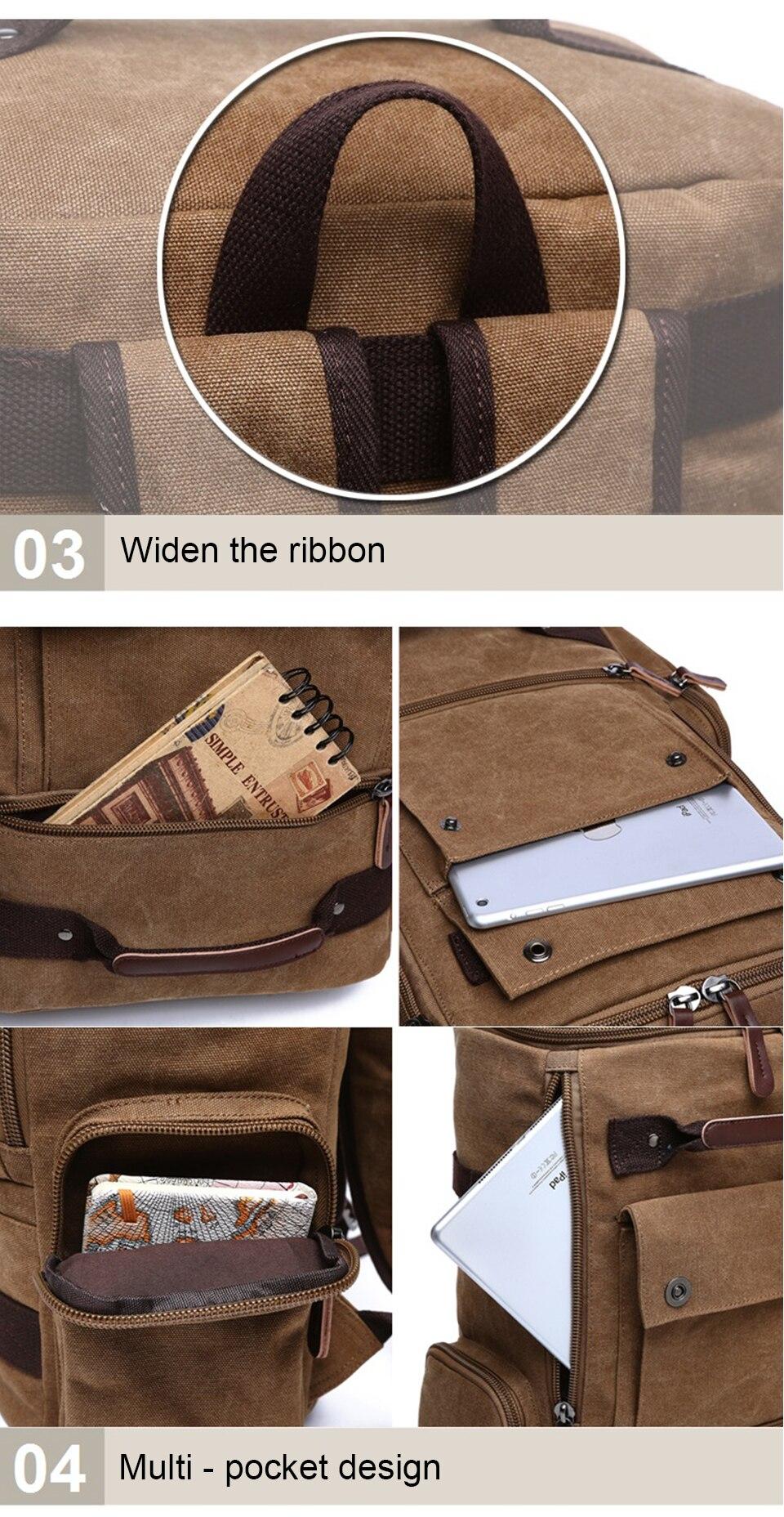 9 Canvas Backpack 15.6'' Laptop Backpacks Men Bagpack Wearproof School Bag for Teenage Male Knapsack Travel Bags Fashion Rucksack