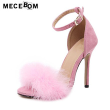 Women sandals fashion fur pink high heel sandals for lady thin heel women pumps sapatos size 35-40 590w