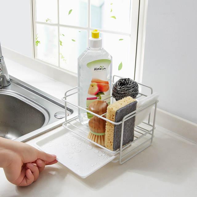 US $15.07 30% OFF|Double layer sponge holder kitchen sink organizer with  drainer tray Dishwasher storage rack spice shelf home storage-in Storage ...